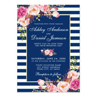 Floral Watercolor Pink Blue Stripes Wedding W Invitation