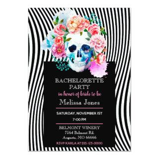 Floral Watercolor Skull With Stripes Invitation