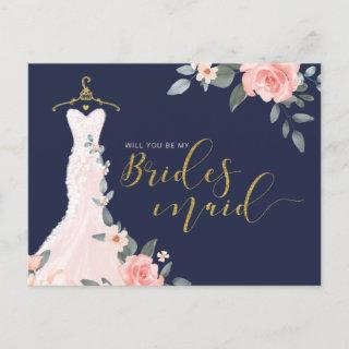 Floral Wedding Dress Will You Be Bridesmaid  Postcard