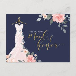 Floral Wedding Dress Will You Be Maid of Honor Invitation Postcard
