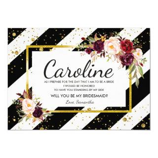 Floral Will You Be My Bridesmaid Cards