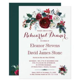 Floral winter red white wedding rehearsal dinner invitation
