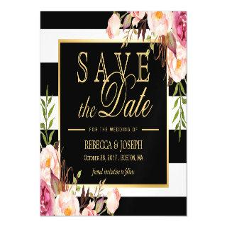Floral Wrapped Black & White Striped Save the Date Magnetic Invitation