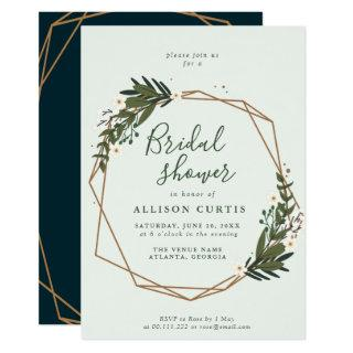 floral wreath bridal shower Invitations