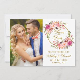 Floral Wreath Pink Gold Save The Date Photo