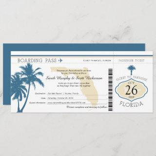 Florida Palm Tree Boarding Pass Wedding Invitations