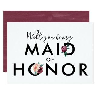Flower Lettering | Maroon Be My Maid of Honor Invitation