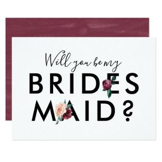 Flower Lettering Maroon Will You Be My Bridesmaid Invitations