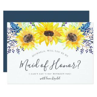 Flowerfields Be My Maid of Honor Card