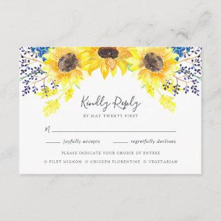 Flowerfields RSVP Card with Meal Choice