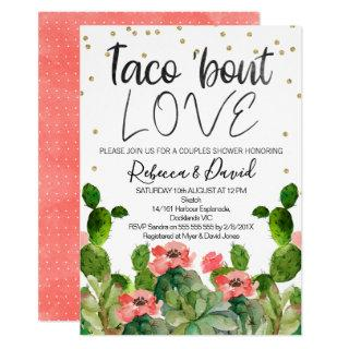 Flowering cactus taco bout love couples invitation