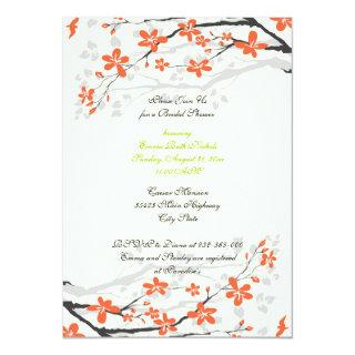Flowers orange lime green bridal shower Invitations