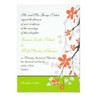 Flowers orange lime green wedding Invitations