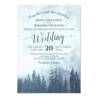 Foggy Blue Mountain Pines Rustic Outdoors Wedding Invitations