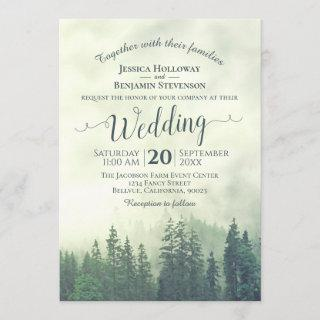 Foggy Green Mountain Pines Rustic Outdoors Wedding Invitation
