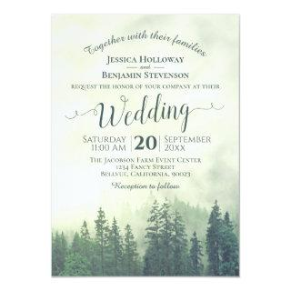 Foggy Green Mountain Pines Rustic Outdoors Wedding Invitations
