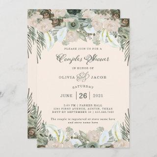 Foliage and Floral | Blush Pink Couples Shower Invitation