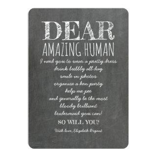 FOR AMAZING HUMAN Funny Bridesmaid Proposal Invitations