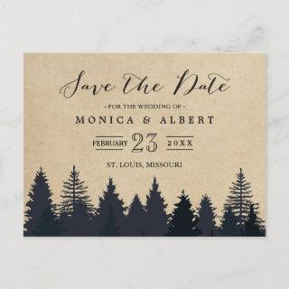 (for USPS) Rustic Kraft Pine Trees Save the Date Announcement Postcard