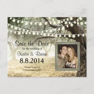 Forest and String lights Save the Date Card