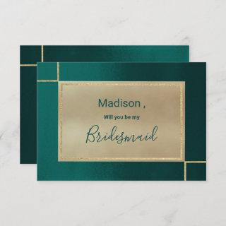 Forest green gold ombre watercolor Bridesmaid Invitations