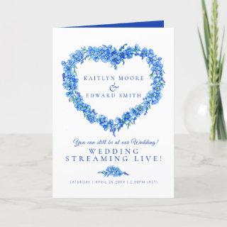 Forget-me-not heart blue white wedding live stream announcement