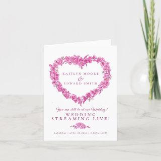 Forget-me-not heart pink white wedding live stream announcement