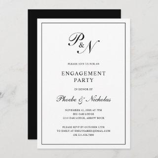 Formal Black and White Monogram Engagement Party Invitations