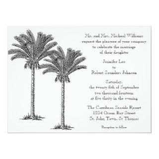 Formal Elegant Palm Tree Tropical Island Wedding Invitations