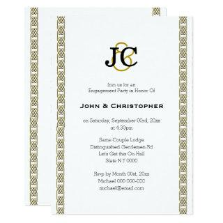 Formal gay wedding chic celtic classy Personalize Invitation