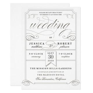 Formal Wedding Antique Ticket Invitation