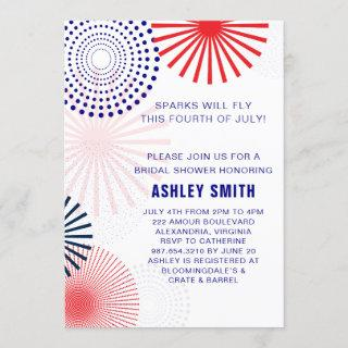 Fourth of July Bridal Shower Invitations for July 4