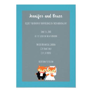 Fox Bride Groom Cute Teal Gray Personalize Wedding Invitation