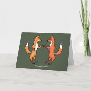 Fox Couple Wedding Anniversary Art Card Red Foxes