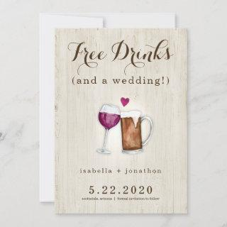 Free Drinks Funny Save the Date Card
