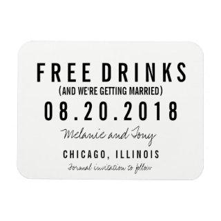 Free Drinks Wedding Save the Date Magnets
