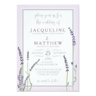 French Lavender Floral Watercolor Leaf Typography Invitations