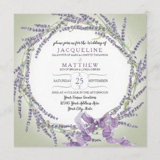 French Lavender Flower Wreath Typography Script Invitations