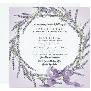 French Lavender Flower Wreath Watercolor n Script Invitations
