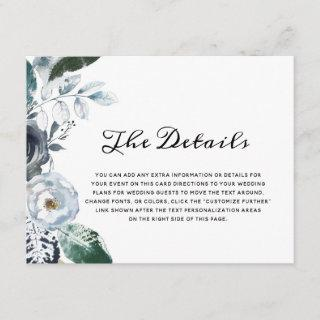 French Twilight Floral Watercolor Boho The Details Enclosure Card