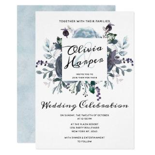 French Twilight Floral Watercolor Wedding Ceremony Invitations