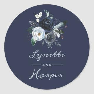 French Twilight Floral Watercolor Wedding Monogram Classic Round Sticker