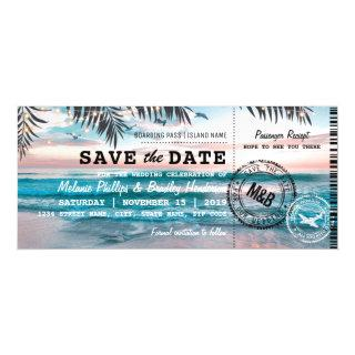 Fridge Save the Date Tropical Beach Palm Trees Magnetic Invitations