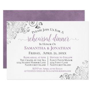 Frilly Elegant Lavender Wedding Rehearsal Dinner Invitation