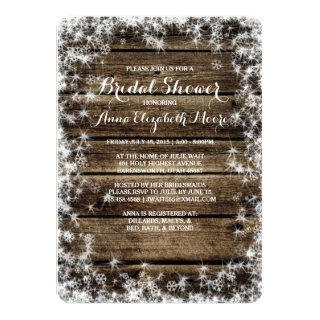 Frost Bite Barn Wood Rustic Winter Bridal Shower Invitations