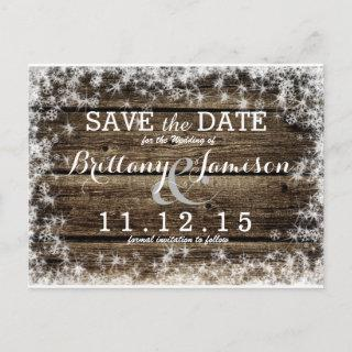 Frost Bite Barn Wood Rustic Winter Save the Date Announcement Postcard