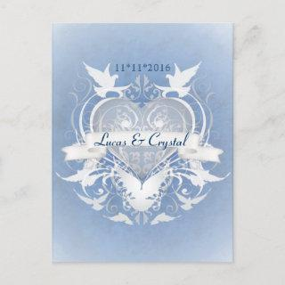 Frosted Fairy Tale Blue Save The Date Postcard
