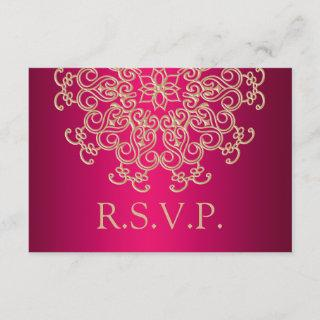 FUCHSIA AND GOLD INDIAN RESPONSE RSVP CARD
