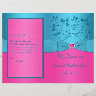 Fuchsia and Turquoise Floral Quinceanera Program
