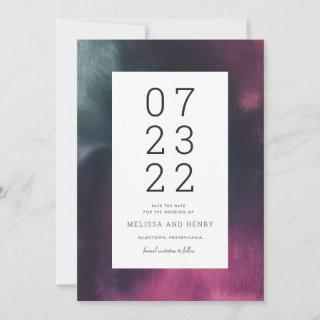 Fuchsia and Turquoise Watercolor Wash Save The Date